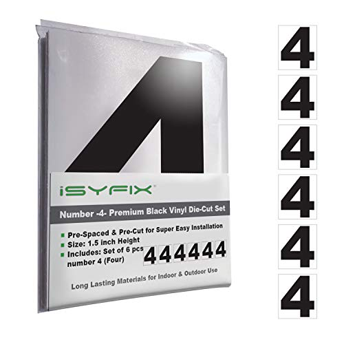 Black Vinyl Number 4 (Four) Stickers – 6 Pack 1.5-Inch Self Adhesive - Premium Decal Die Cut & Pre-Spaced for Mailbox, Signs, Door, Cars, Trucks, Home, Business, Address Number, in & Outdoor