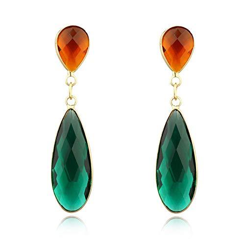 RKWEI Ohrringe für Damen Wassertropfen Gold Kristall Tropfen baumeln Ohrringe für Frauen Schmuck Charms Lange Ohrringe A