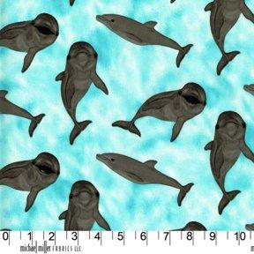 Fat Quarter delfino Babies-Paradise Cove Cotton, tessuto di supporto per Quilting e Michael Miller