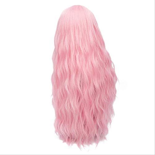 YCHBUBBLE Colorido pelo largo y rizado Sin flequillo Peluca de fibra sintética transpirable natural de alta temperatura Cosplay Juego de rol Vestido de fiesta