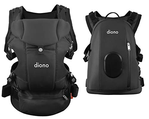 Diono Carus Complete 4-in-1 Child & Baby Carrying System with Detachable Backpack, Dark Gray