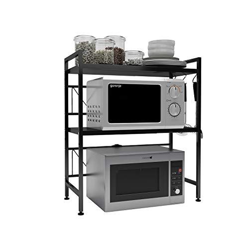 DAWNYIELD Estante extensible para horno de microondas de 3 niveles con 3 ganchos para colgar soporte para microondas con almacenamiento para mostrador de cocina, soporte para impresora