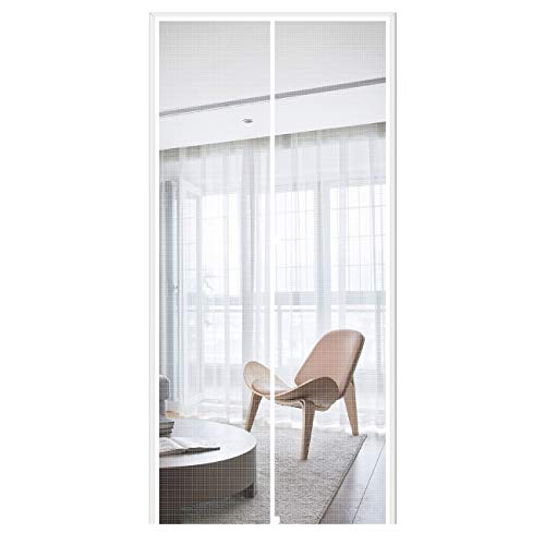 MAGZO Magnetic Screen Door 36'' x 80'' White, Durable Fiberglass Screen Doors with Magnets Fit Door Size 36' x 80' Front Back Patio Sliding Balcony Home Screen Curtain Mesh Net with Full Frame