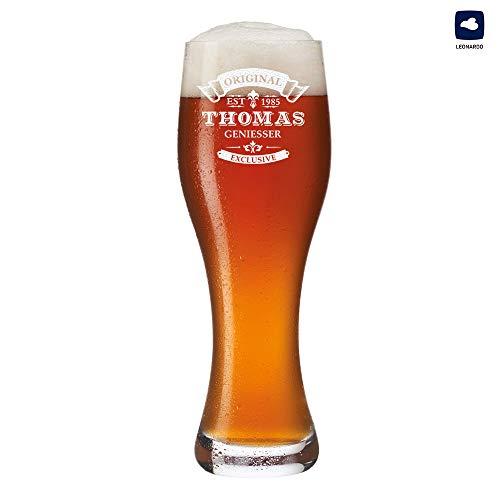 polar-effekt Leonardo Weizenbierglas 0,5l mit Gravur personalisierte Weizenglas Geschenk-Idee - Bierglas für Männer zum Geburtstag - Motiv Original-Exklusive