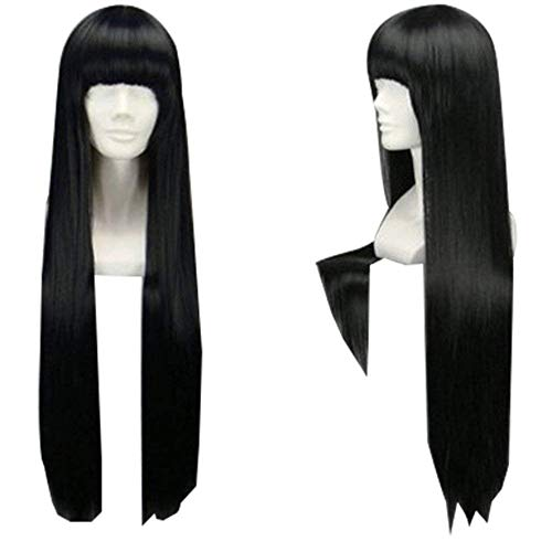 """TopWigy Girl's Replacement Wig Natural Black Long Straight Costume Daily Hair Wigs with Bangs Cher Wig(Black 32"""")"""