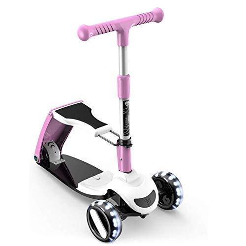 Ygqtbc Moto for niños, Kick Scooter con 3 Ruedas Scooter por Niños Niñas y Niños, de Altura Ajustable, Caja Lean Steer con la PU Intermitente Ruedas for niños de 2 a 12 Años de Edad (Color : Pink)