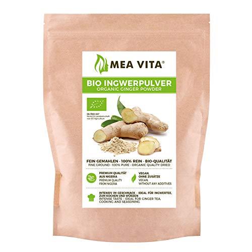 Polvo de jengibre orgánico MeaVita, 100% puro, 1 paquete (1x 250g)