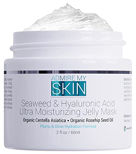 Seaweed Hyaluronic Acid Jelly Mask – Skin Care Face Mask Anti Aging Face Masks Skincare Contains Hydrating Centella Asiatica + Rosehip – Moisturizing Beauty Jelly Face Mask for Plump Glowing Skin 2oz