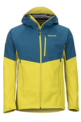Marmot Men ROM Jacket Softshelljacke, Funktions Outdoor Jacke, Wasserabweisend, Moroccan Blue/Citronelle, XL