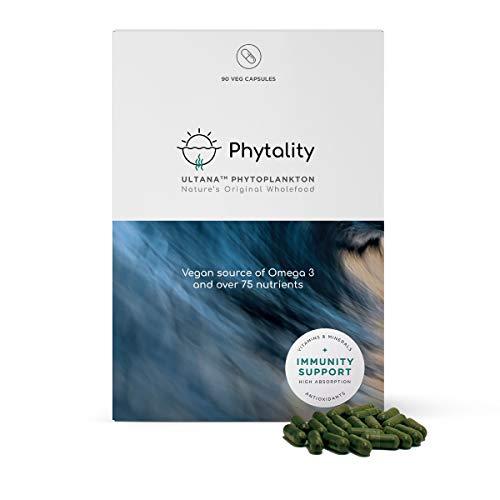 Phytality Ultana Phytoplankton 90 Veggie Capsules | Vegan Omega 3 EPA | Sustainable & Plant-Based | 100% Vegan