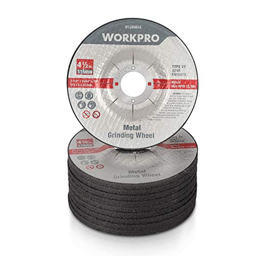 WORKPRO Metal Grinding Wheels for Angle Grinders, Zirconia Abrasive Flap Disc for Sanding, Polishing, Shaping, Type 27, 4-1/2 x 7/8-inch, 10 Pack