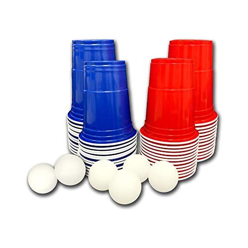 FUNS 54-teiliges Beer-Pong / Bier-Pong Set - 24 rote & 24 Blaue Becher / Trinkbecher (American Cups) + 6 Ping Pong Bälle - 470 ml Inhalt - geruchs- und geschmacksneutral - für Lebensmittel geeignet