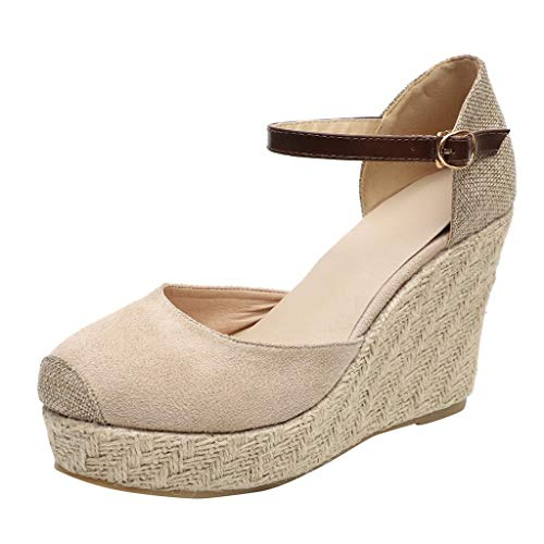 VECDY Sandalias Mujer Verano 2019, Moda para Mujer Flock Wedges Tobillo Alto Sandalias al Aire Libre Punta Redonda Calzado Casual cuña 6cm Casual Calzados Zapatillas(Beige,EU-37)