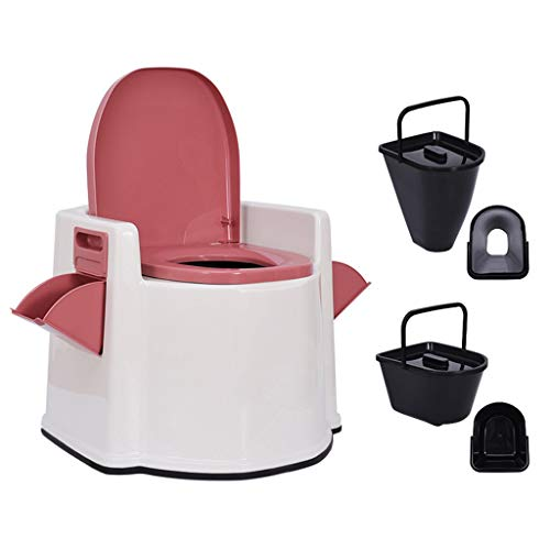 Elderly Commode Chair with Hollow/Solid Inner Barrel - Mobile Toilet Sitting Stool Change Squat Pit - Night Bedside Toilet - The Best Gift
