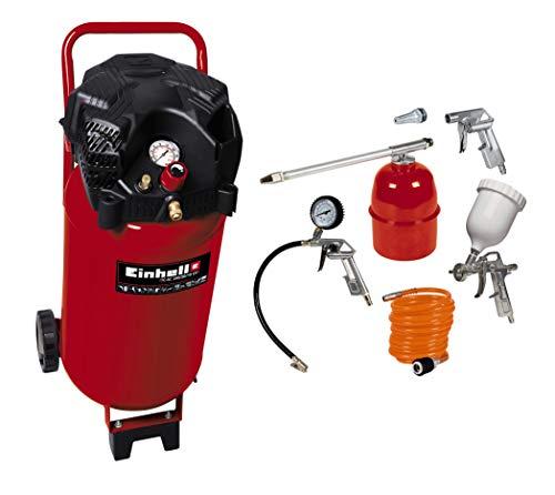 Einhell Compressore 50 L, Potenza 240 L/Min, 10 Bar, 1 Cilindro, TH-AC 240/50/10 of, 1500 W &4000832470 Set di 5 Accessori, Metallo, Compressore, Rosso/Bianco/Metallico