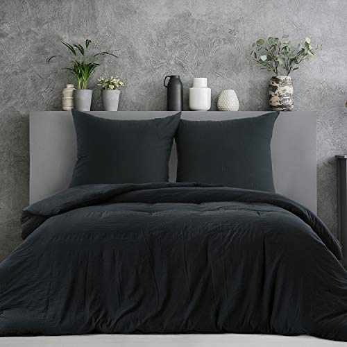 Bedsure Bettwäsche 200x200 cm schwarz Bettbezug Set, 3 teilig microfaser Bettwäsche warme& atmungsaktive Bettbezüge mit Reißverschluss und 2 mal 80x80cm Kissenbezug