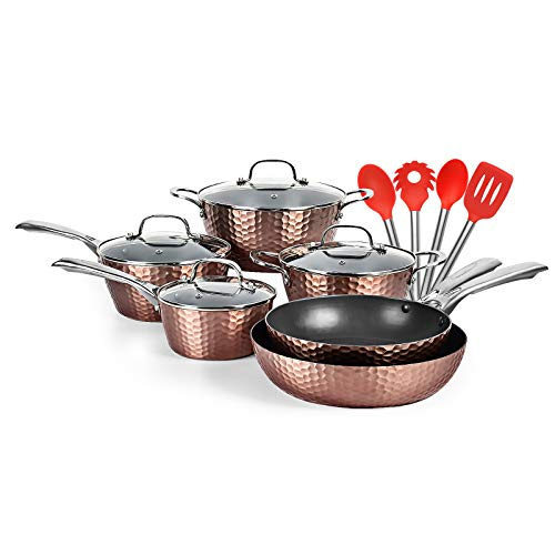 LovoIn 14 Piece Non-Stick Cookware Pot and Pan Set, best frying pan Kitchenware Cooking New Version Hammered Canodized cookware set,Induction Dishwasher/Oven/Stovetop