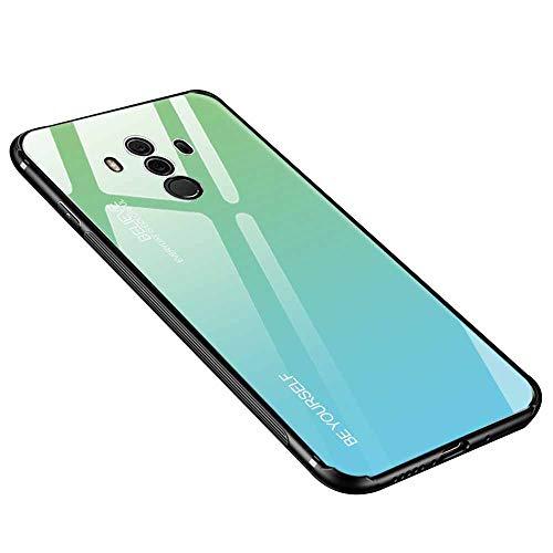 Dqueen-eur Huawei Mate 10 Pro Hülle, 9H Gehärtetes Glas Rückendeckel Handyhülle Polarlicht Farbverlauf Glas Weich TPU Silikon Rand Shocproof Cover für Huawei Mate 10 pro (Blau, Huawei Mate 10 Pro)