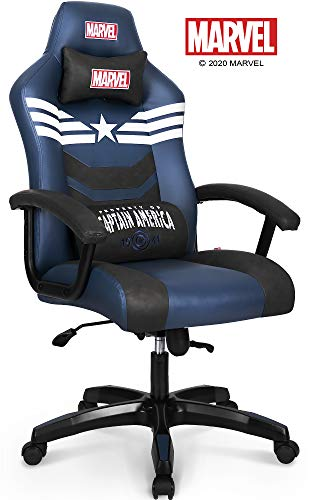 Marvel Avengers Captain America Big & Wide Heavy Duty 330 lbs Gaming Chair Office Chair Computer Racing Desk Chair Blue White - Endgame & Infinity War Series, Marvel Legends