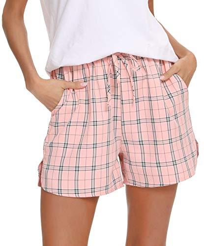 Lovasy Pantalones Cortos de Pijama de Algodón a Cuadros para Mujer ,Ropa de Dormir de Camiseta con Pantalones Cortas S-XXL
