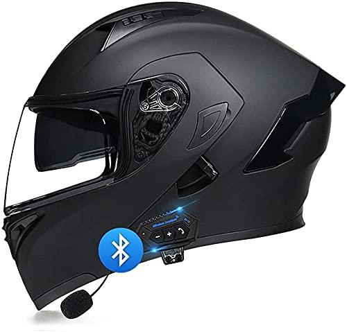Oksmsa Casco motocicleta cara completa, casco Bluetooth modular Flip Up Motorbike con anti-niebla Dual Visor incorporado Dual Altavoz Micrófono Auriculares DOT / ECE Aprobado para hombres y mujeres