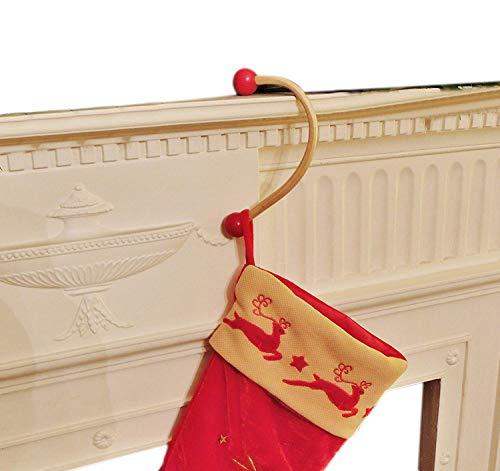 Supporti per Camino per Calze di Natale, Xmas, Fatti a Mano, in Legno, Stupendi RED WITH LIGHT WOOD