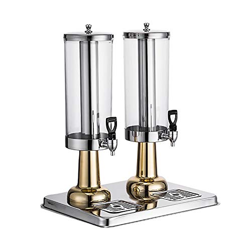MS- 3L / 6LPC Dispensador De La Bebida De Escarcha Y La Grifo De Metal, Tapa De Acero Inoxidable Y La Base For El Agua, Jugo, Cerveza, Vino, Licor, Kombucha Curling (Color : Gold, Size : 6L)