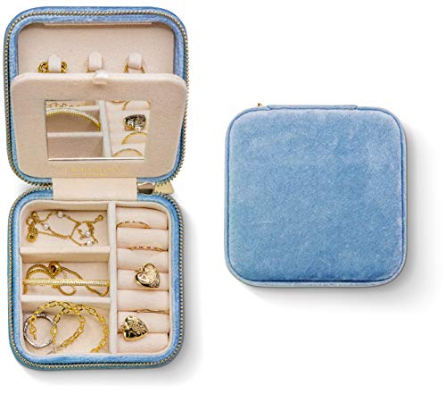 Plush Velvet Jewelry Box | Travel Jewelry Box | Jewelry Storage and Organizer | Jewelry Box for Women | Rings, Necklaces and Earrings Organizer with Mirror - Periwinkle Blue