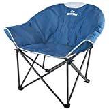 Suntime Sofa Chair, Oversize Padded Moon Leisure Portable Stable Comfortable Folding Chair for Camping, Hiking, Carry Bag (Blue)