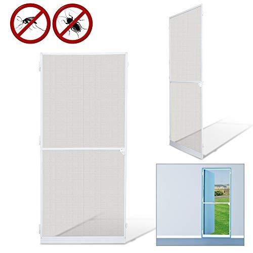 Fliegengitter 95X210Cm Tür Wasserdicht Fliegengitter Fenster Mückenschutz Gitter Alu-Rahmen Weiß Gaze Uv-Schutz Tür Wohnzimmer Balkone Kinderzimmer