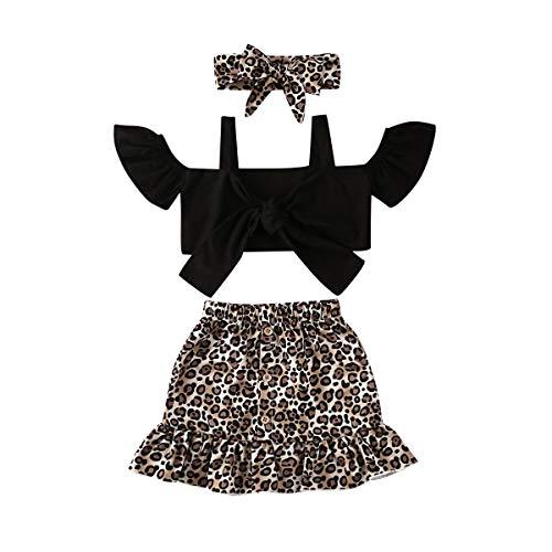 Kids Toddler Baby Girls Clothes Set Halter Crop Tops Skirt Set A-Line Dress Mini Pencil Skirt Girls 2PCS Outfits Set (Black leopard/3pcs, 2-3 Years)