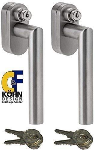 Abschließbarer Fenstergriff L-Form, Sicherheitsklasse ES2 geprüft, Edelstahl matt - Stiftlänge 35 mm, im Set 2 Stück alle gleichschließend mit insgesamt 4 Schlüssel