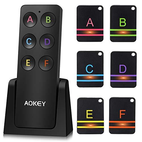 AOKEY Schlüsselfinder, Wireless Key Finder - mit 6 Empfängern, Haustier Tracker, Wallet Tracker, Unterstützung Fernbedienung Schlüssel Locator, Gute Idee für Ihre verlorenen Gegenstände, Schwarz
