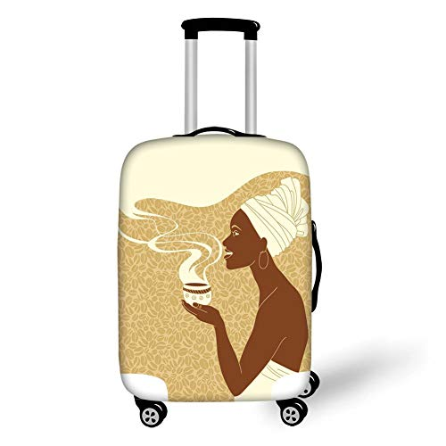 Travel Luggage Cover Suitcase Protector,African Woman,Smiling Happy Afro Lady with Hot Coffee Cup Seeds Cocoa Vintage,Brown Light Brown Cream,for Travel S