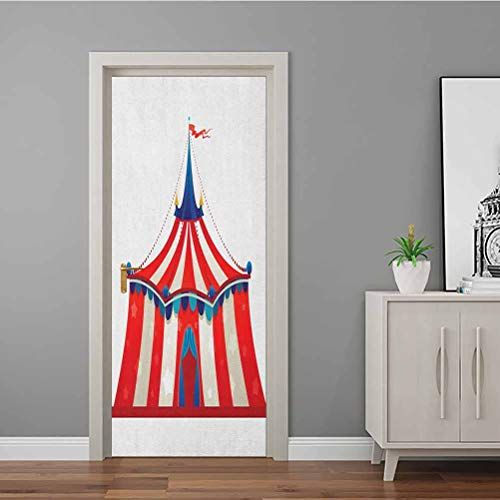 3D Door Mural Colorful Striped Circus Marquee Tent Stars Carnival Performance Illustration Modern Art 3D Door Sticker Easy To Apply And Adhesive Holds Nicely Vermilion Blue 60x200 CM