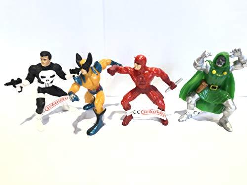 Promohobby Pack 4 Figuras Superheroes Marvel. Dared Evil, Lobezno, Doctor Muerte y The Punisher.