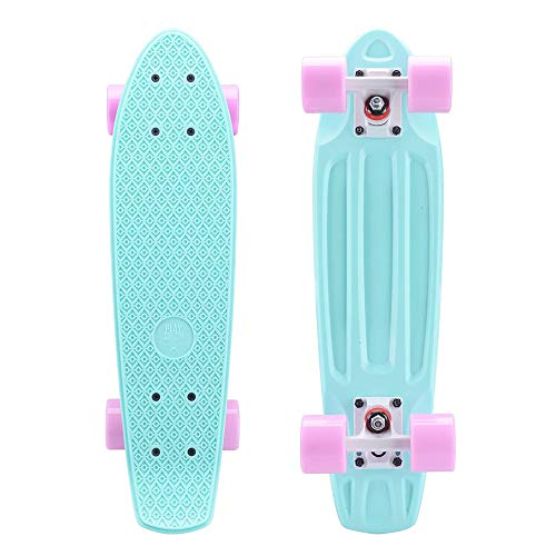 Playshion Complete 22 Inch Mini Cruiser Skateboard for Beginner with Sturdy Deck Green