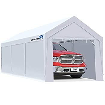 Peaktop Outdoor 10 x 20 ft Upgraded Heavy Duty Carport Car Canopy with Removable Sidewalls Portable Garage Tent Boat Shelter with Reinforced Triangular Beams and 4 Weight Bags,White