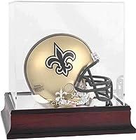 New Orleans Saints Super Bowl XLIV Champions Mahogany Mini Helmet Logo Display Case - NFL Mini Helmets