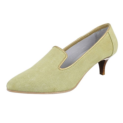 Damen Schuhe, 4341A, Pumps, Bequeme Komfort Leder, Wildleder, Hellgrün, Gr 40