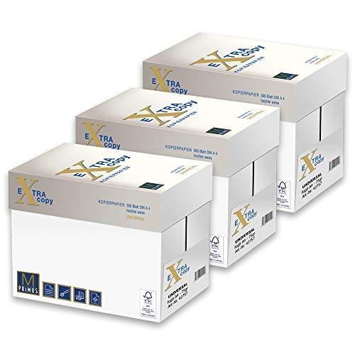 Primus Extra Copy 75gr Carta A4 per fotocopiatrici e stampanti 75gr/mq, Formato A4, confezione da 15 Risme