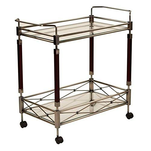 Serving Cart with Clear Tempered Glass and Nickel Brush Frame Kitchen Table Kitchen Storage Kitchen cart Rolling cart Bar Cabinet Kitchen Storage cupboards Cart with Wheels Storage cart