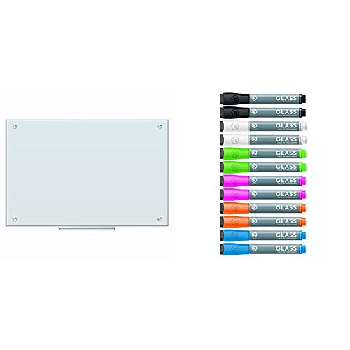 U Brands Glass Dry Erase Board, 35 x 23 Inches, Frameless & Liquid Glass Board Dry Erase Markers with Erasers, Low Odor, Bullet Tip, Assorted Colors, 12-Count - 2913U00-12