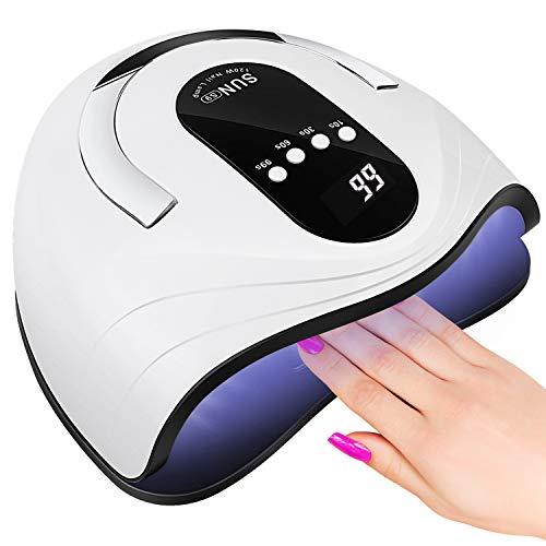 Lámpara LED UV Uñas, Sooair Lámpara Secador de Uñas,120W Lampara Led Uñas Profesional con temporizador de 10s, 30s, 60s y 99 s Para Manicura/Pedicure Nail Art en el Hogar y el Salón