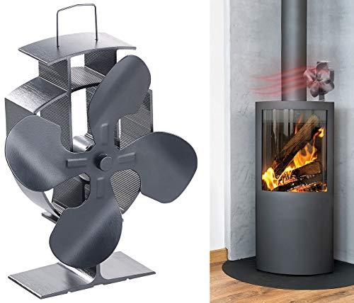 Carlo Milano Ofenventilator: Stromloser Kaminofen-Ventilator mit 4 Lüfter-Blättern, für 60-350 °C (Wärmeverteiler)