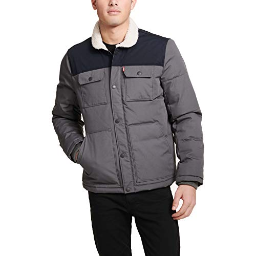 Levi's Men's Quilted Mixed Media Shirttail Work wear Puffer Jacket, Light Grey/Navy, Small
