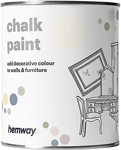 Hemway - Pintura De Tiza (36 Colores Disponibles), Acabado Mate Para Pared Y Muebles, 1 Litro, Color Blanco
