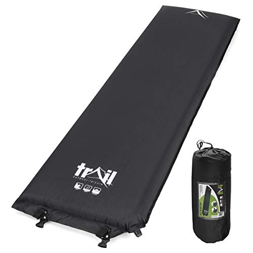 Trail Self Inflating Camping Mat Extra Thick 10cm Single Mattress With Bag Black