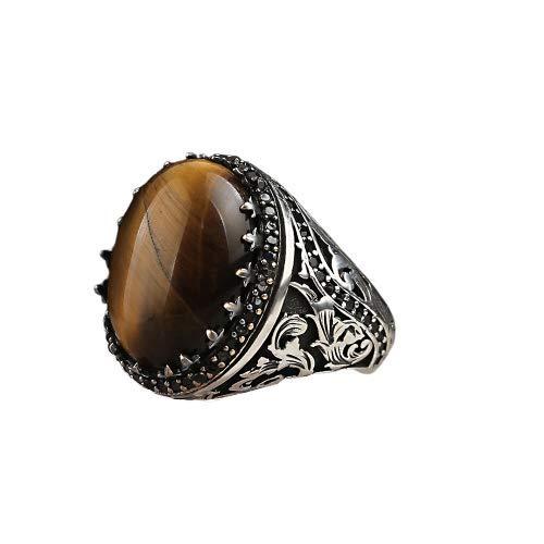 Anillo para hombre de plata de ley 925 con ojo de tigre, piedra preciosa (58 (18.5))