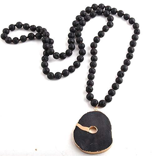 YUANYUAN520 Moda Bohemia joyería Tribal de Piedra de Lava Largo Anudado Collares Pendientes Joyería (Color : 88cm, Size : Black)